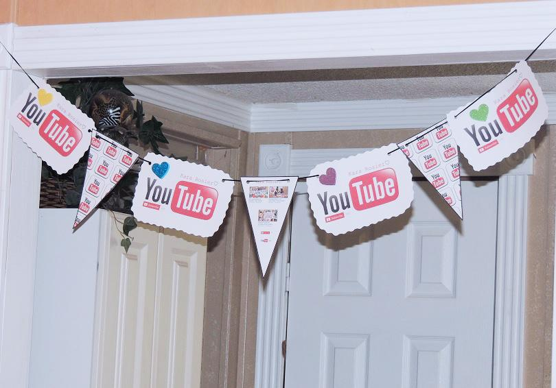 Free Youtube Birthday Party Printables- Flag Bunting Banner For Doorway & Youtube Birthday Party Printables