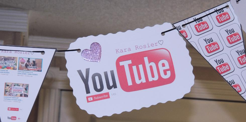 Free Youtube Birthday Party Printables- Flag Bunting Banner For Doorway
