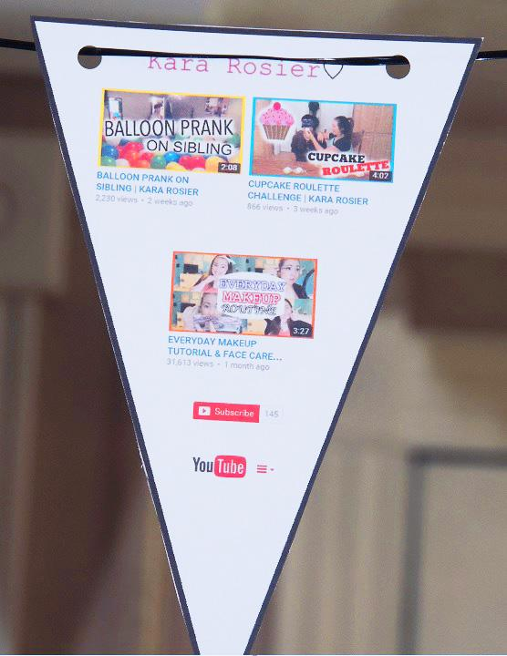 Free Youtube Birthday Party Printables- Kara Rosier Youtube Channel- Flag Bunting Banner