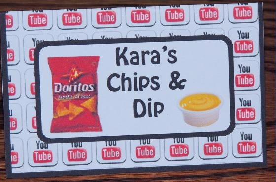 Free Youtube Birthday Party Printables- Karas Chips And Dip Food Cards